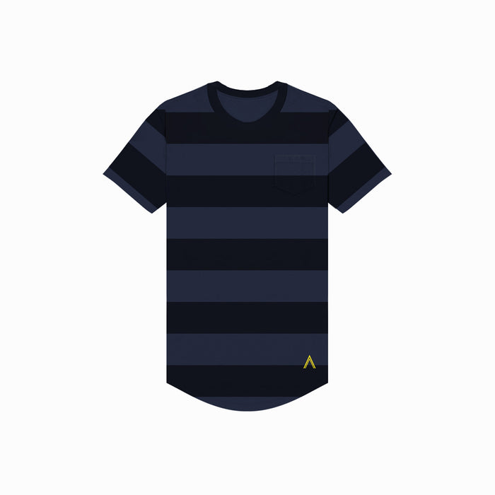Navy & Black Stripe Scoop Tee
