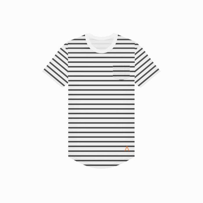 North & Acrux Black & White Stripe Scoop Tee