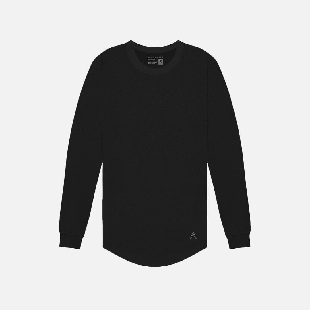 North & Acrux Black Long Sleeve Scoop Bottom Tee