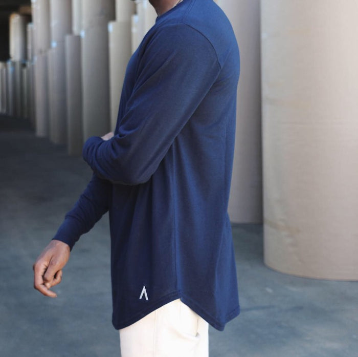 North & Acrux Navy Long Sleeve Scoop Bottom Tee
