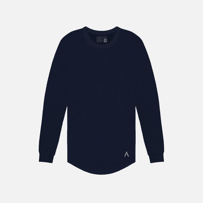 Navy Long Sleeve Scoop Bottom Tee