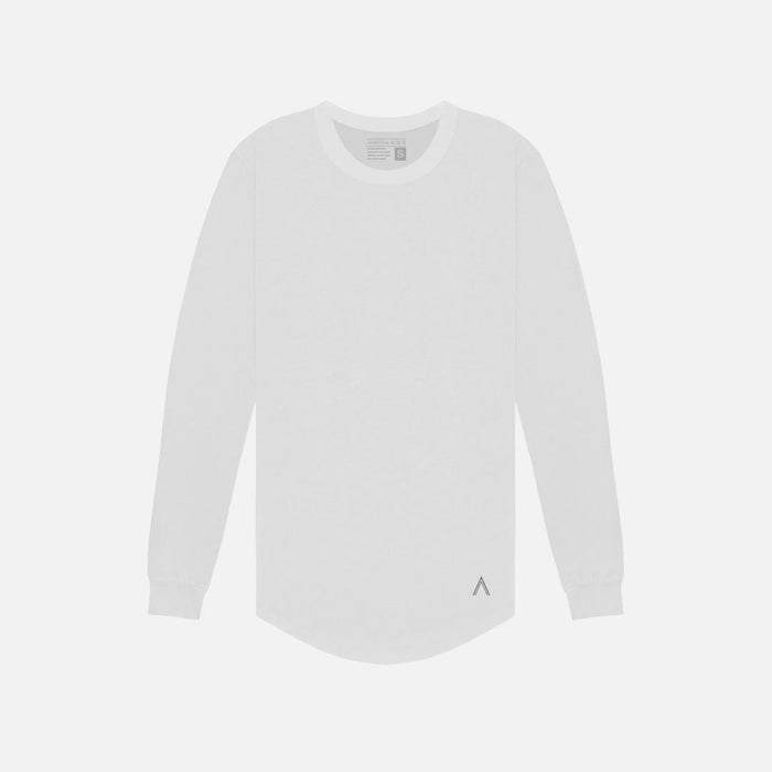 North & Acrux White Long Sleeve Scoop Bottom Tee