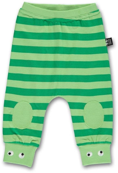 Ubang organic baby pants, green stripes