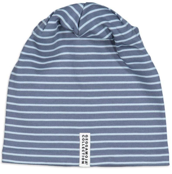 Geggamoja organic hat, blue stripes