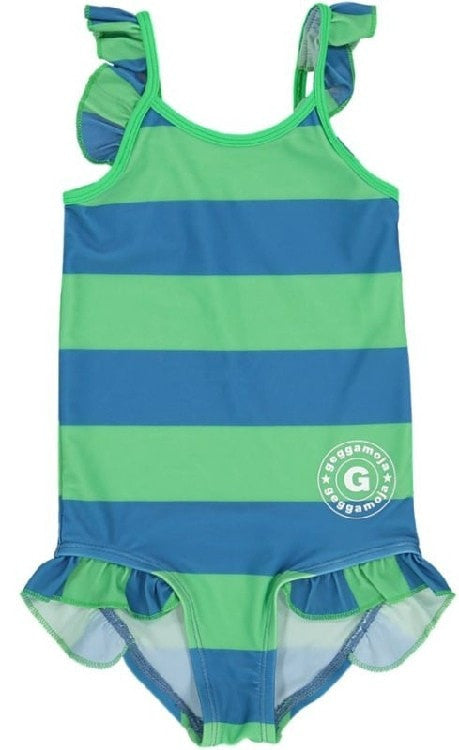 Geggamoja swimsuit, green/blue stripes
