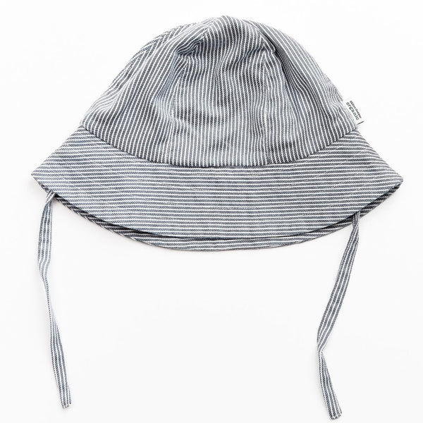 Okker-Gokker organic summer hat, blue/white stripes
