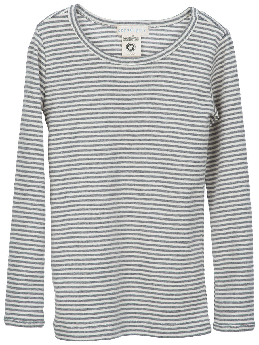 Serendipity Organic Tee Stripes - Gray-Off White