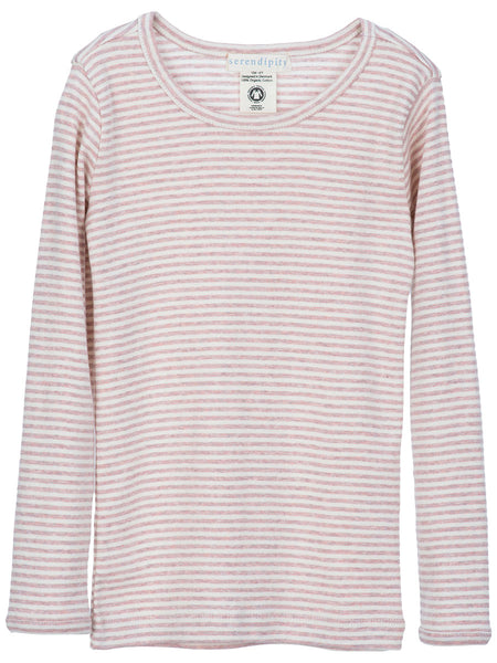 Serendipity Organic Tee Stripes - Powder-Off White