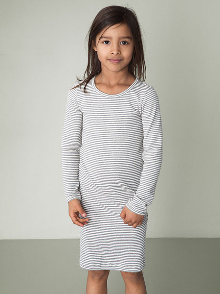Serendipity Organic Dress/Nightgown- Gray-Off White Stripes