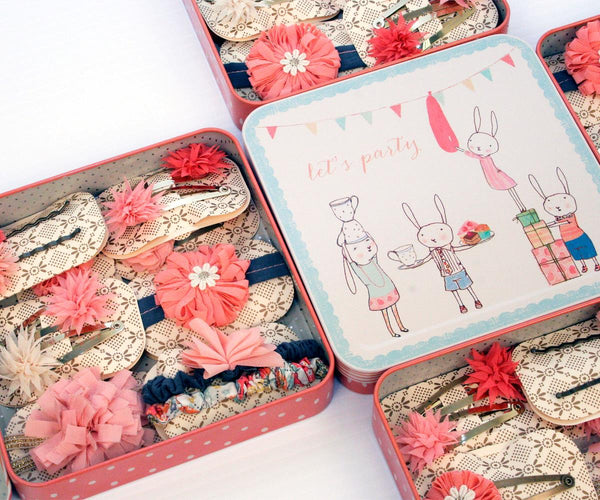 Maileg Tin Box with 12 Pink Hair Accessories