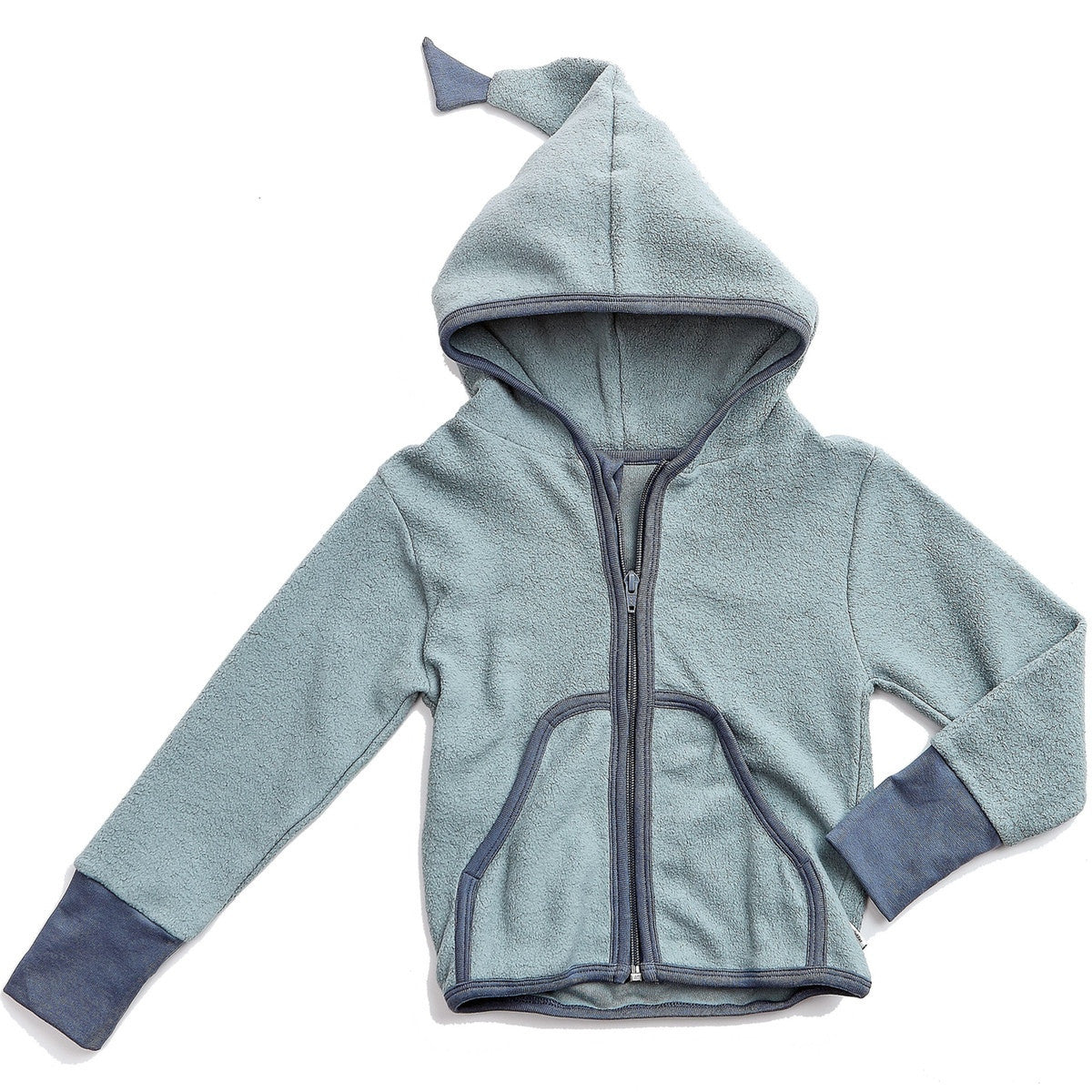 Okker-Gokker organic cotton fleece cardigan, dusty blue
