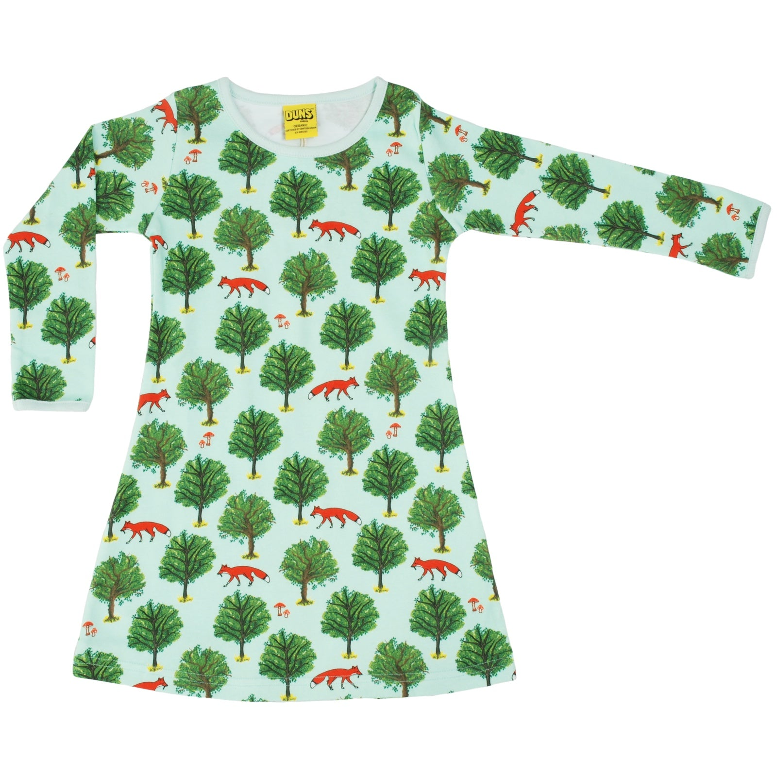 DUNS Organic Fox & Tree Dress - Mint