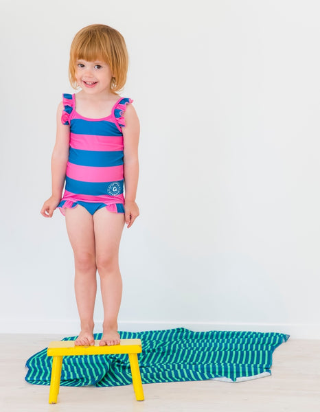 Geggamoja swimsuit, blue/pink stripes