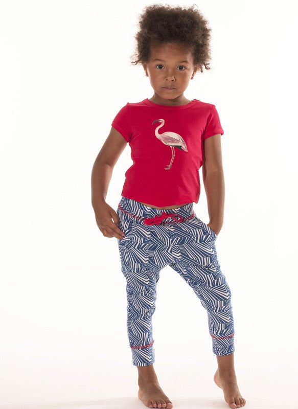 Ba Ba Babywear Girls Organic Pants, Blue & White Geo Pattern