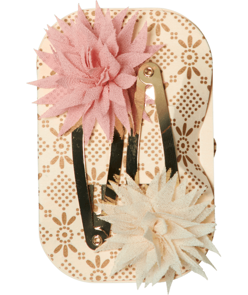Maileg 2 PCS. Dahlia Hair Clips, Vanilla and Melon