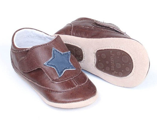Fuzzies soft leather slippers, brown with stars
