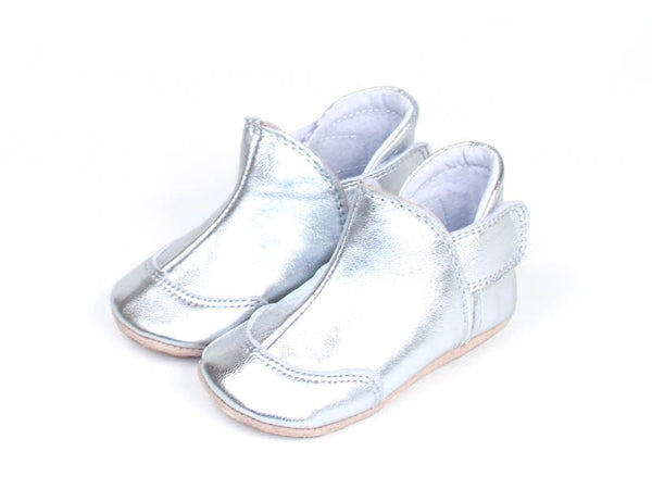 Fuzzies soft leather slippers, silver