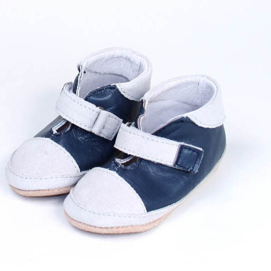 Fuzzies soft leather/suede slippers, blue