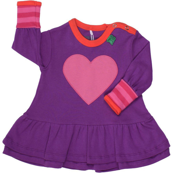 Green Cotton baby dress with heart<br>Size 3-18 months