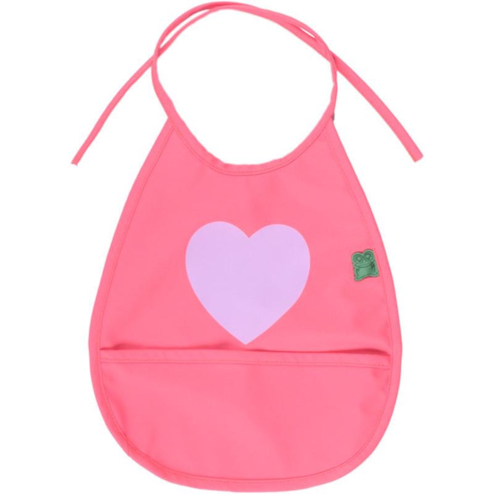 Green Cotton bib, pink