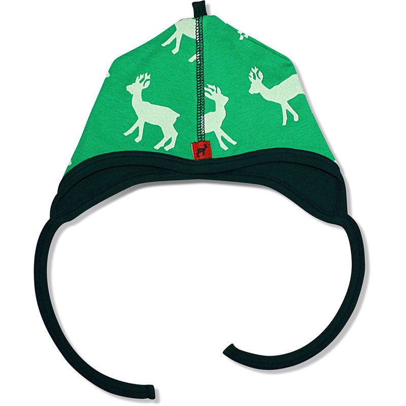Hjorth baby hat, deer print, green