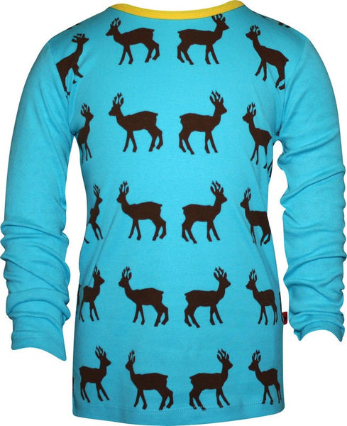 Hjorth  blue t-shirt l/s  with brown deers<br>Size 2 years