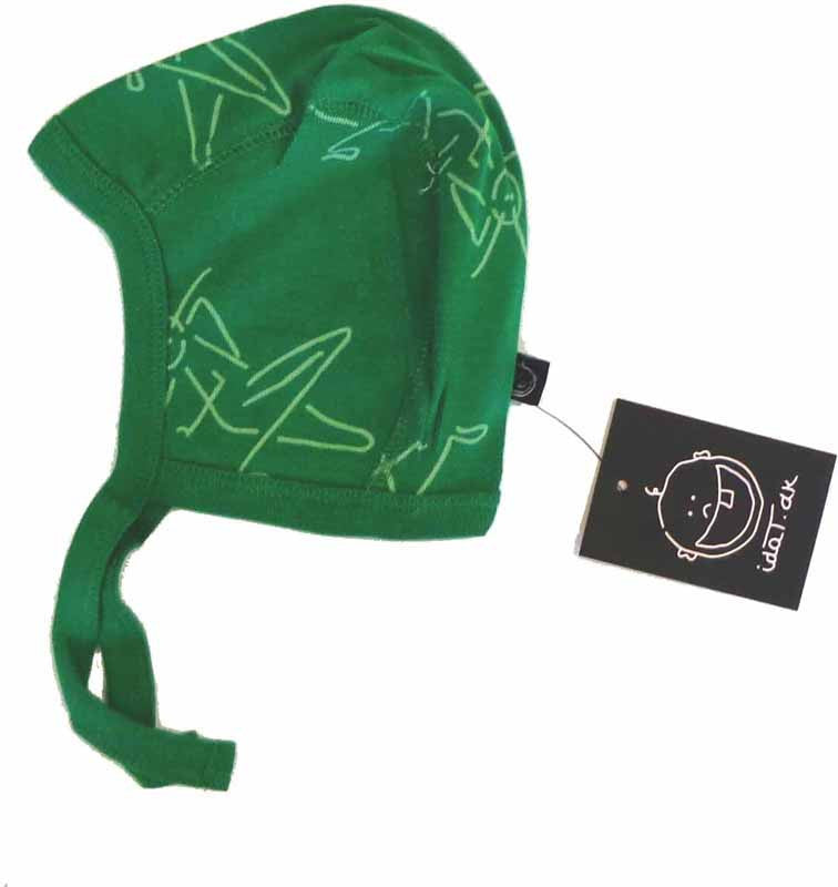 IdaT baby helmet, green with grasshoppers