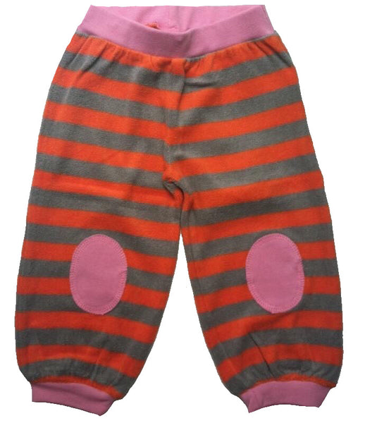 UBANG organic baby terry pants, orange stripes