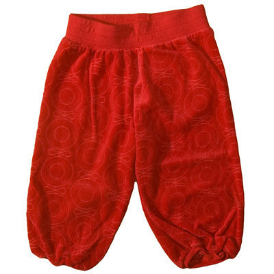 Katvig velour pants, red midi apple.