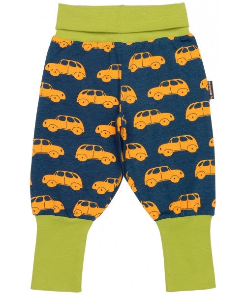 Maxomorra organic baby pants, car print