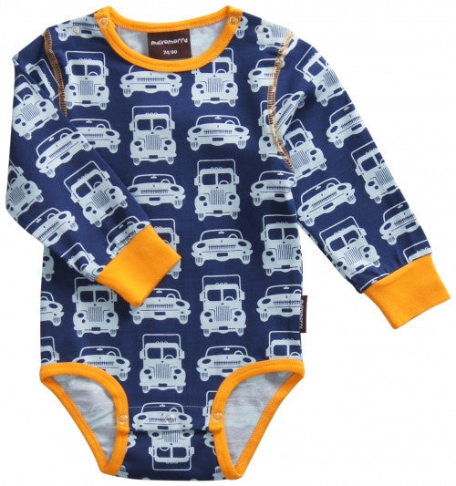 Maxomorra organic bodysuit trucks and cars