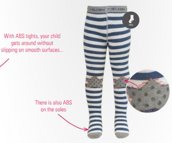 Melton ABS tights, stripes and star<br>Size 6-12M