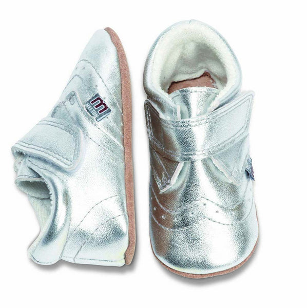 Melton leather shoes, silver<br>1 left size 2-3 years