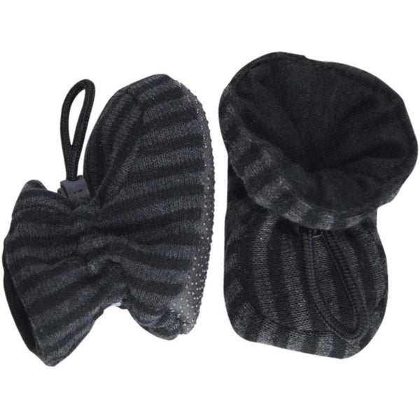 Melton slippers, gray/black stripes<br>Size 0-4Y