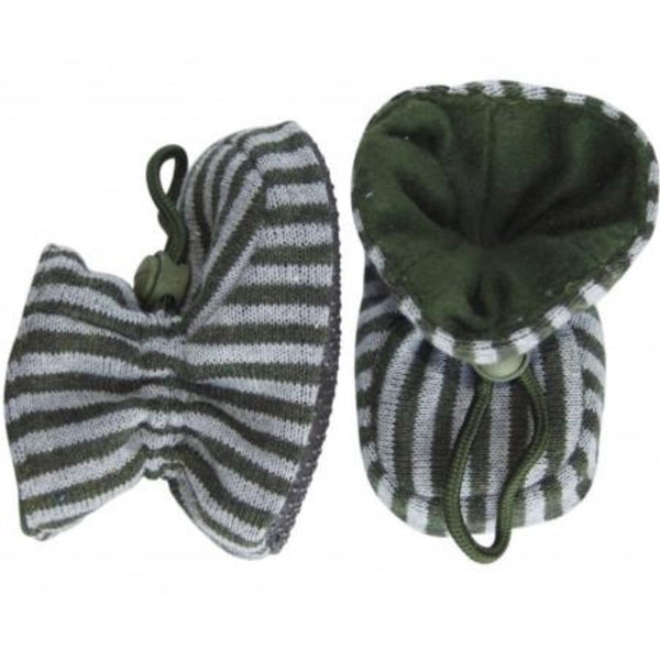 Melton slippers, gray/green stripes<br>Size 0-4Y