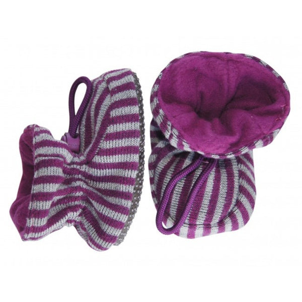 Melton slippers, purple/gray stripes