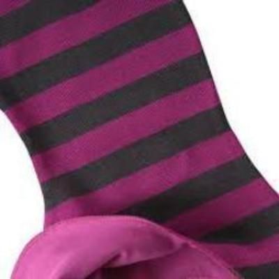 Mikk-line wool balaclava, fuchsia/gray stripes