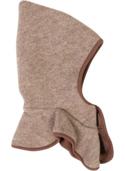 Mikk-line brown wool balaclava with collar