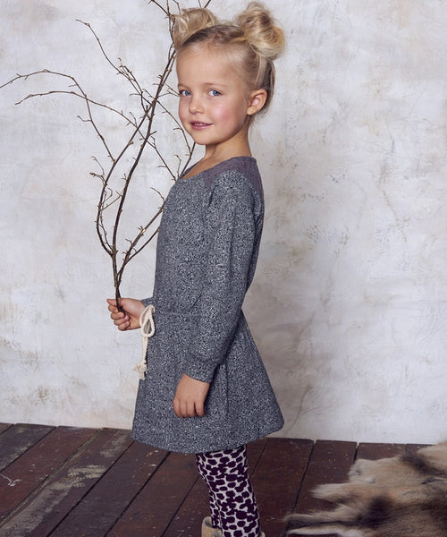 Mini A Ture Adine dress, melange gray<br>Size 3-10 years