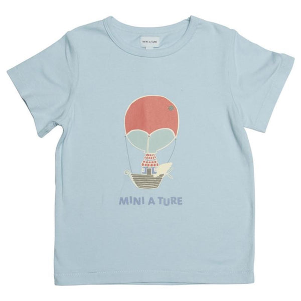 Mini A Ture hot air ballon t-shirt, blue