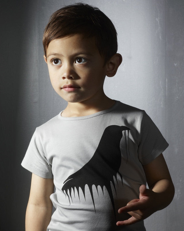 Moi organic T-Birdy, gray<br>Size 2-6 years