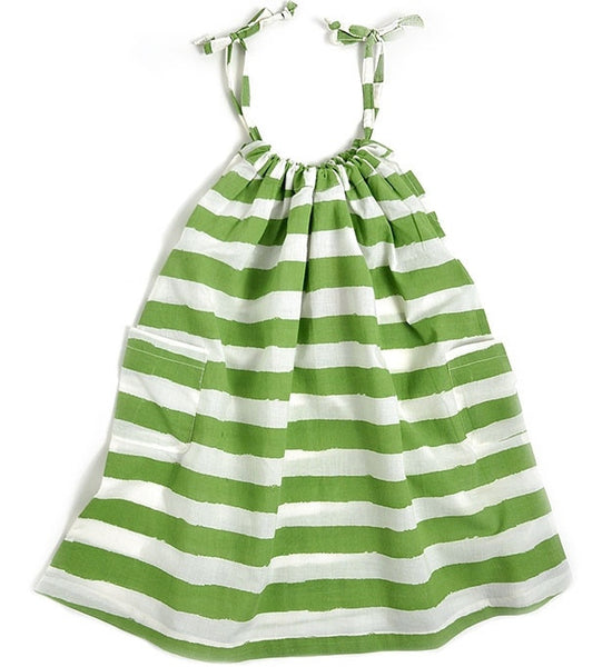 Nadadelazos organic dress, green stripes<br>Size 4-10Y