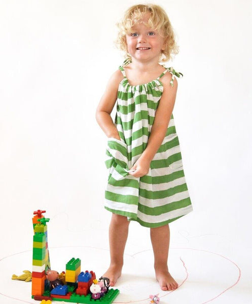 Nadadelazos organic dress, green stripes