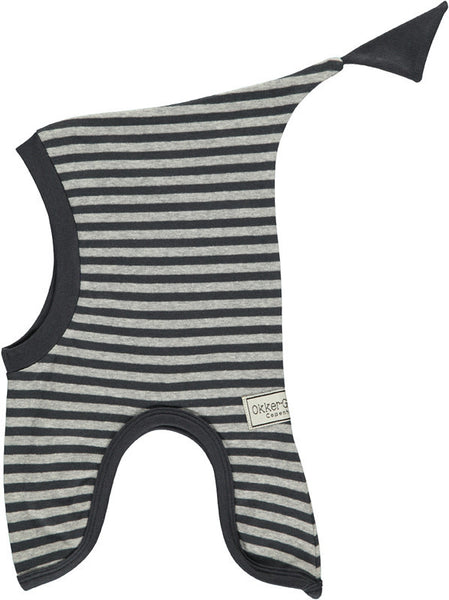 Okker-Gokker organic cotton hat, gray stripes<br>size 3-6 years
