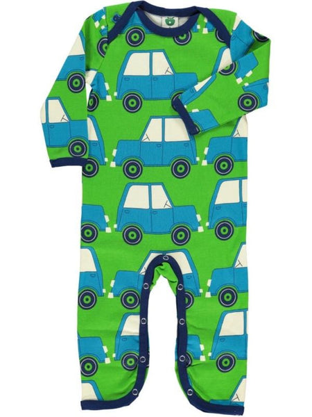 Smafolk apple green one-piece, car print