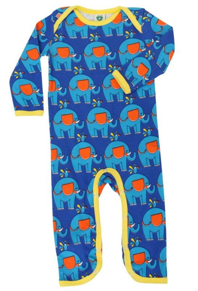 Smafolk blue one-piece, elephants