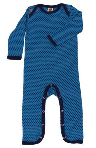 Smafolk blue one-piece with mini apple print