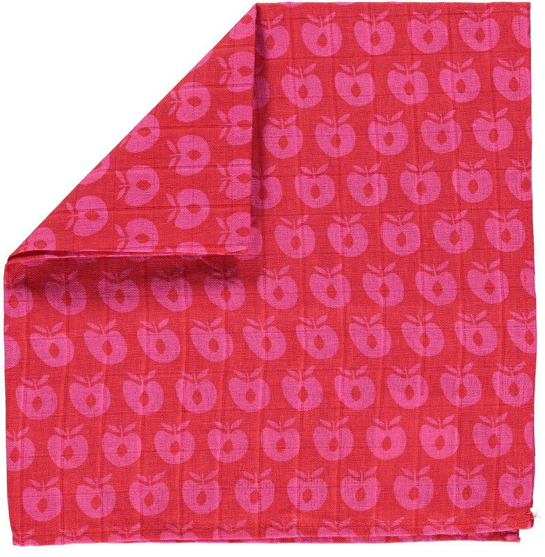 Smafolk burp cloth, red with pink apples