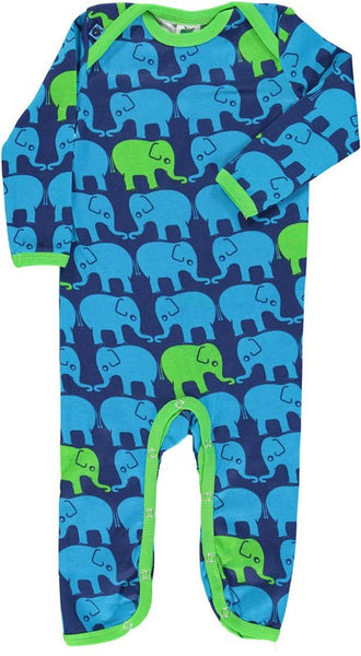 Smafolk navy one-piece, twin elephants