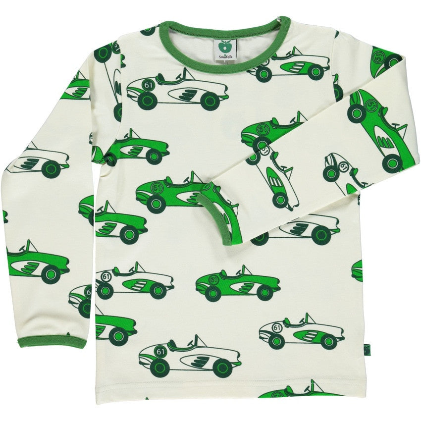 Smafolk t-shirt l/s, green cars